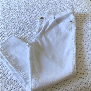 Loft 5 Pocket Frayed White Jeans